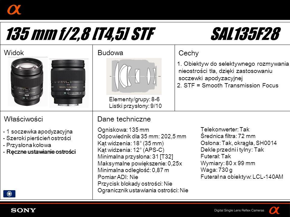 135 mm f/2,8 [T4,5] STF SAL135F28 Widok Budowa Cechy Właściwości